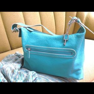 FOSSIL Turquoise Pebbled Leather Shoulder Purse